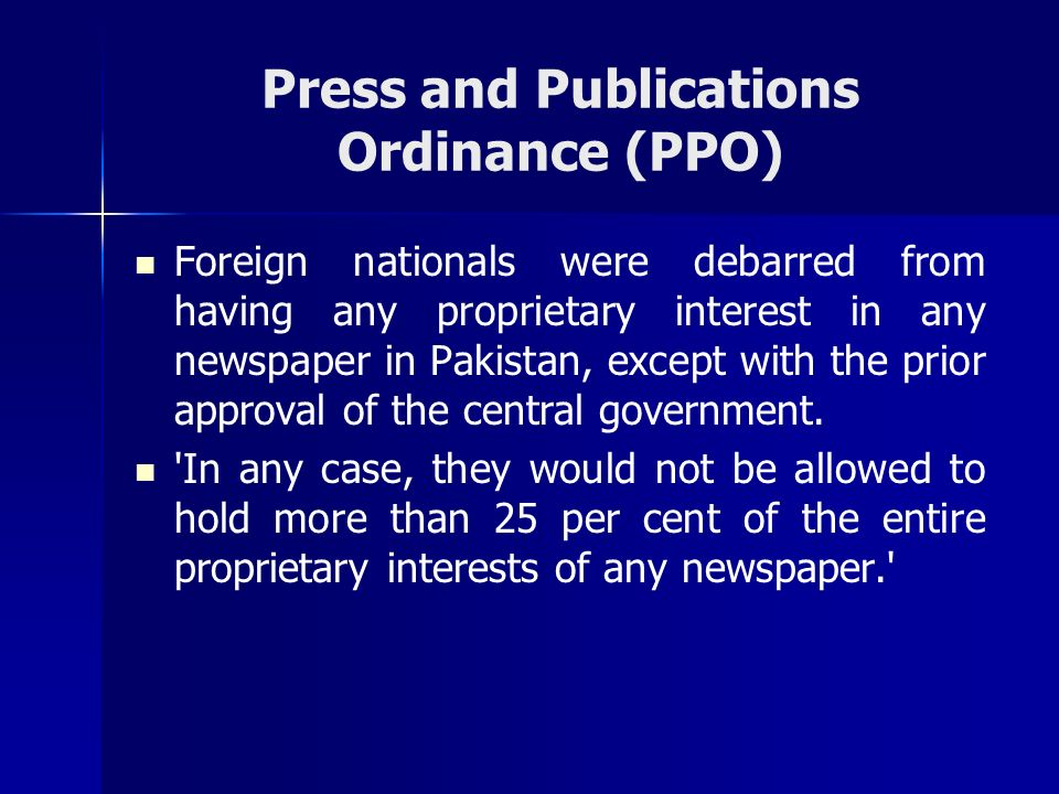Press and Publications Ordinance (PPO)