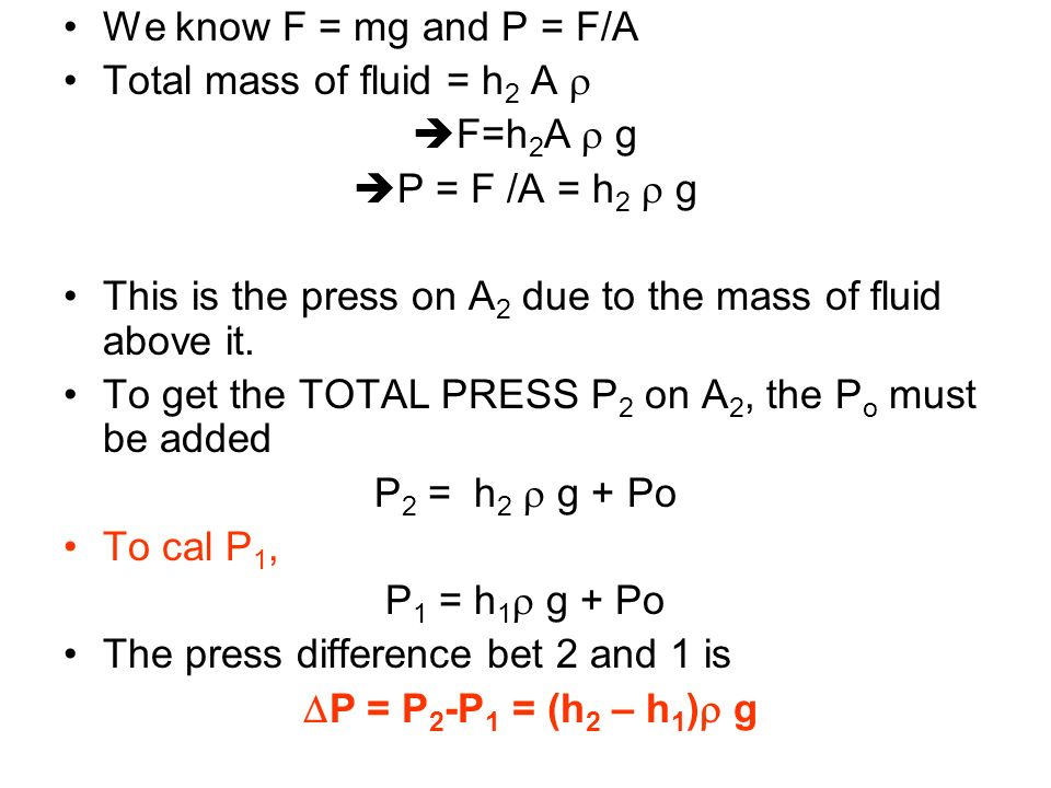 We know F = mg and P = F/A Total mass of fluid = h2 A r. F=h2A r g. P = F /A = h2 r g.