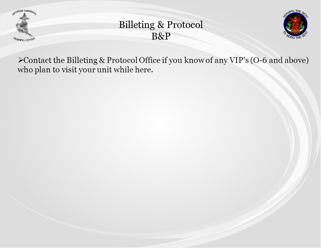 Billeting & Protocol B&P