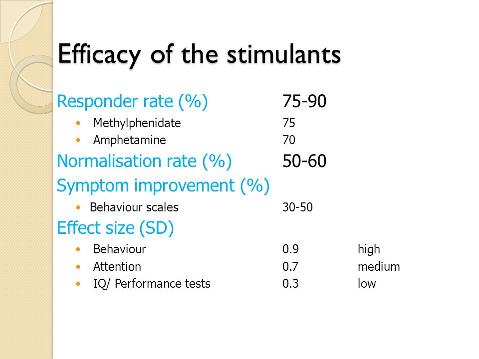 Efficacy of the stimulants