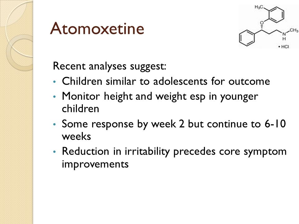 Atomoxetine Recent analyses suggest:
