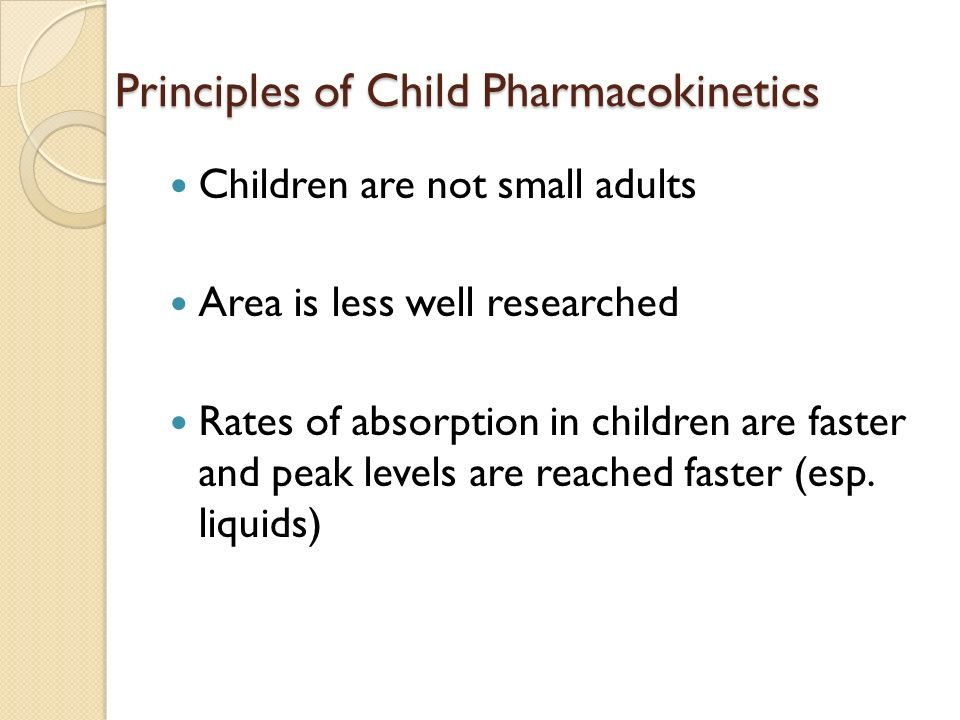 Principles of Child Pharmacokinetics