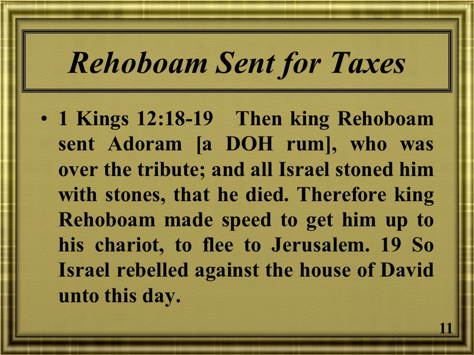 Rehoboam Sent for Taxes
