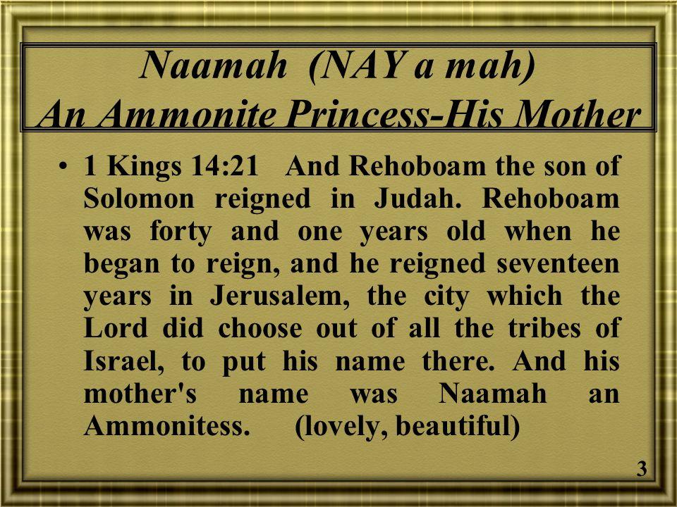 Naamah (NAY a mah) An Ammonite Princess-His Mother