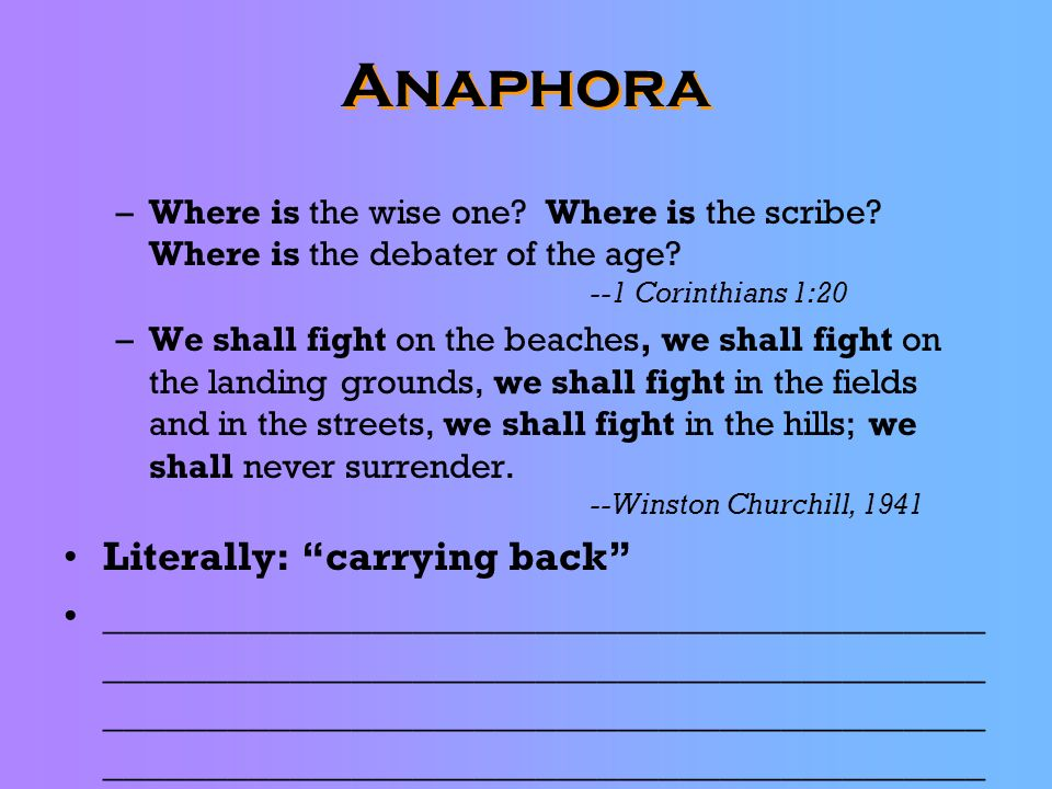 Anaphora Literally: carrying back