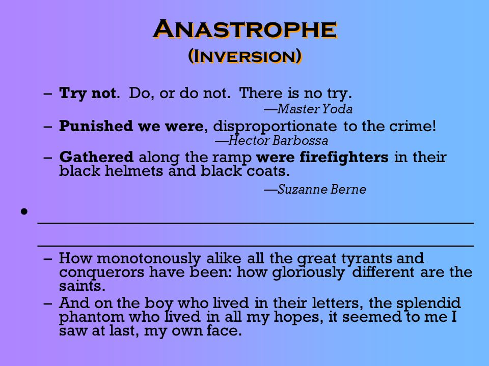 Anastrophe (Inversion)