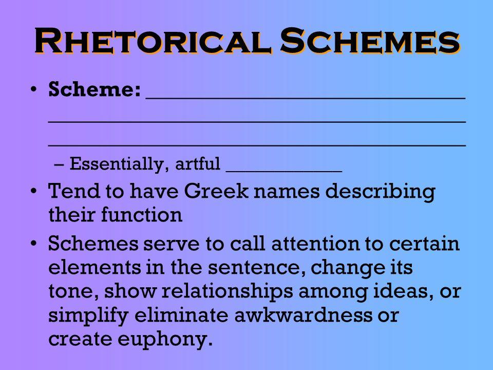 Rhetorical Schemes Scheme: _____________________________ ____________________________________________________________________________.