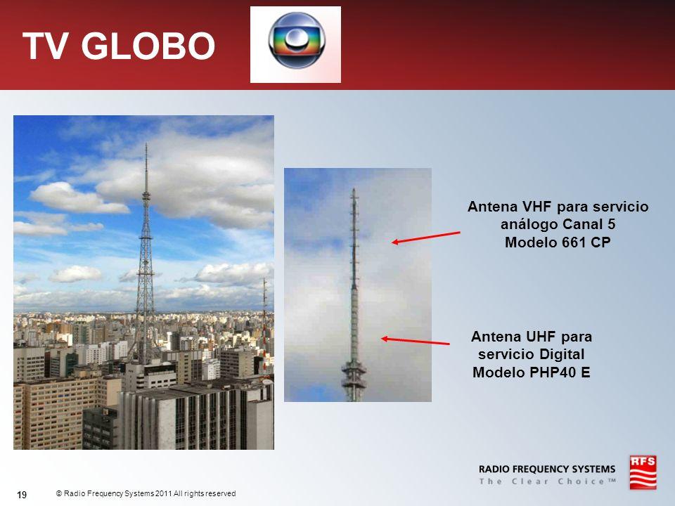 TV GLOBO Antena VHF para servicio análogo Canal 5 Modelo 661 CP