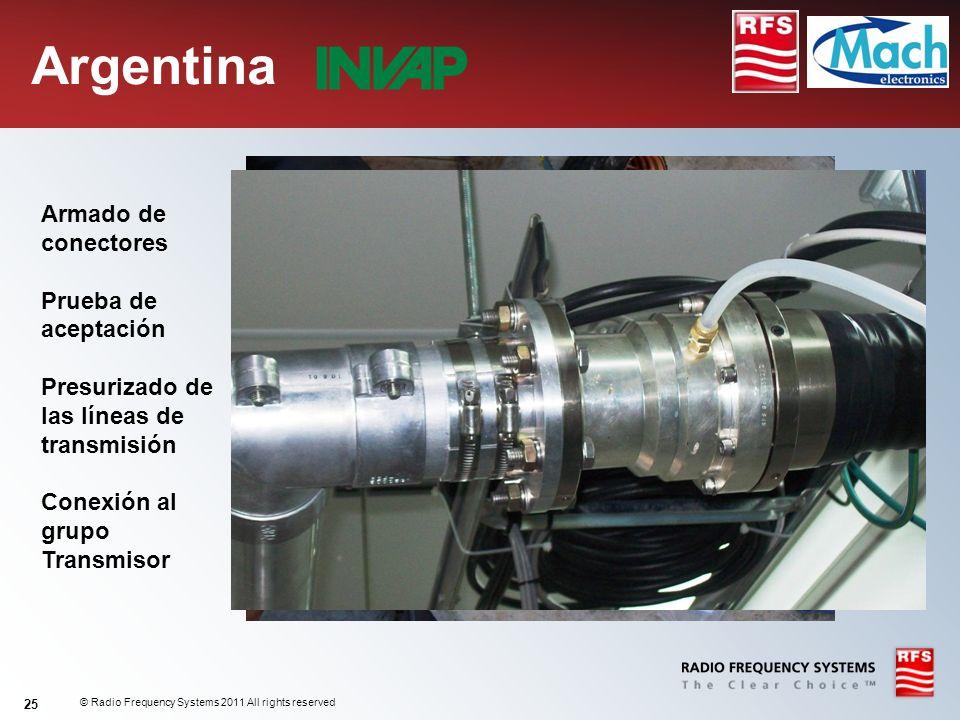 Argentina Armado de conectores Prueba de aceptación Presurizado de las líneas de transmisión Conexión al grupo Transmisor.