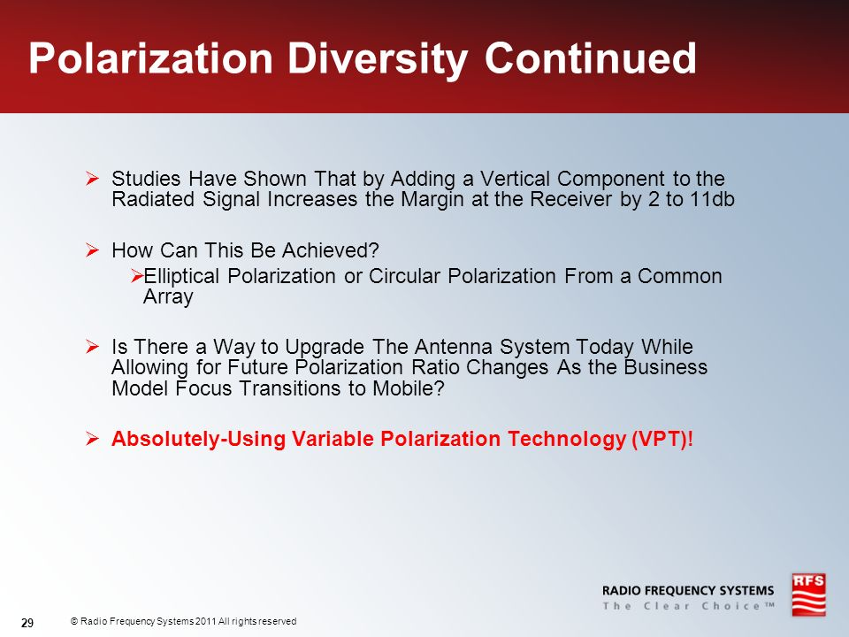 Polarization Diversity Continued