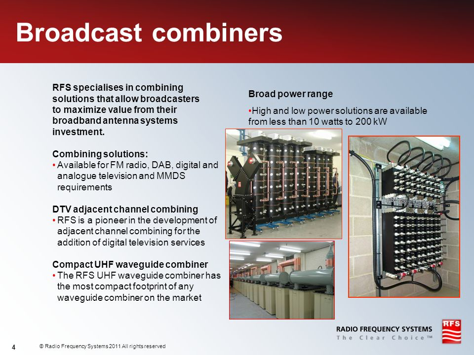Broadcast combiners RFS specialises in combining