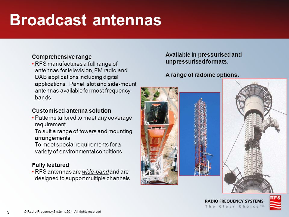 Broadcast antennas Available in pressurised and Comprehensive range
