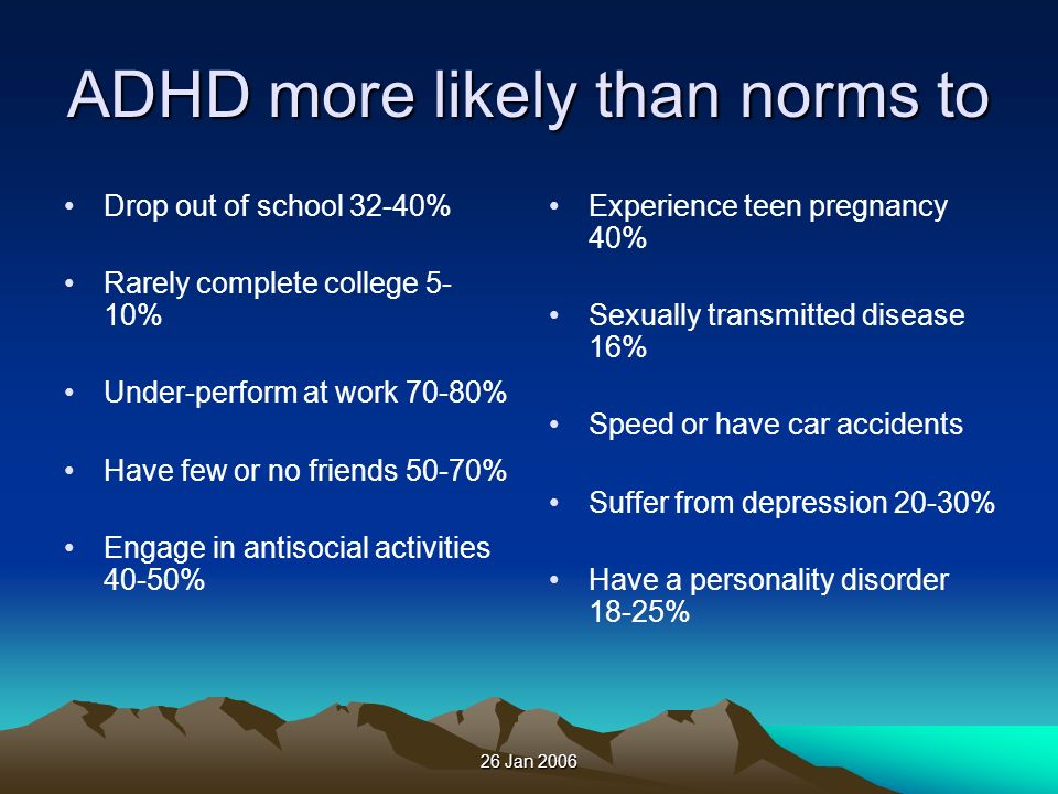 ADHD more likely than norms to