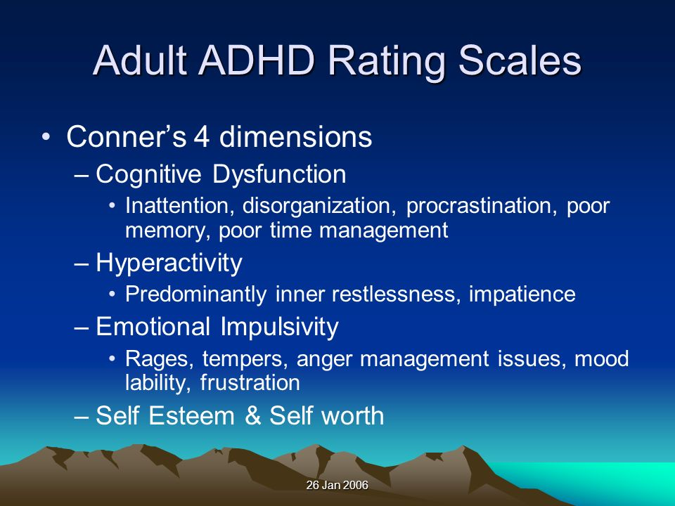Adult ADHD Rating Scales