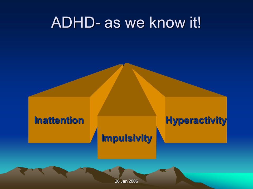 ADHD- as we know it! Inattention Hyperactivity Impulsivity
