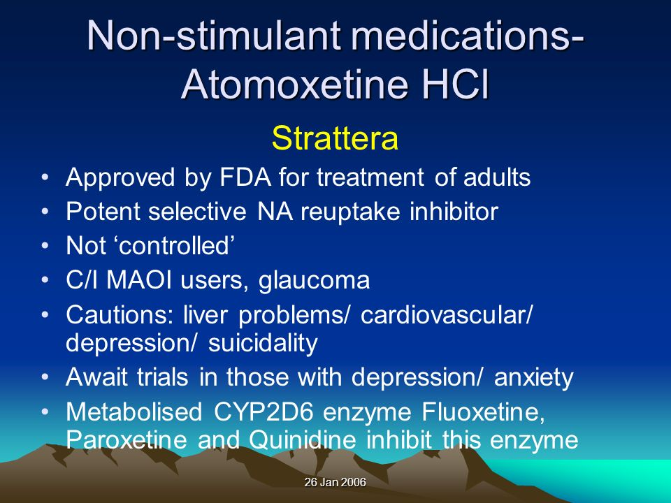 Non-stimulant medications- Atomoxetine HCl