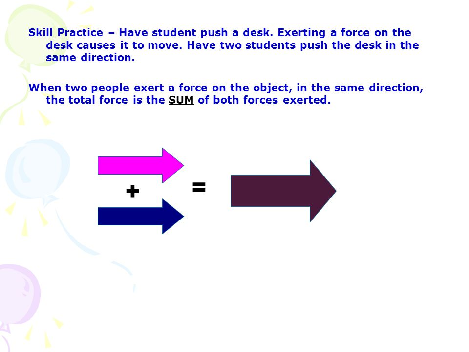 Skill Practice – Have student push a desk