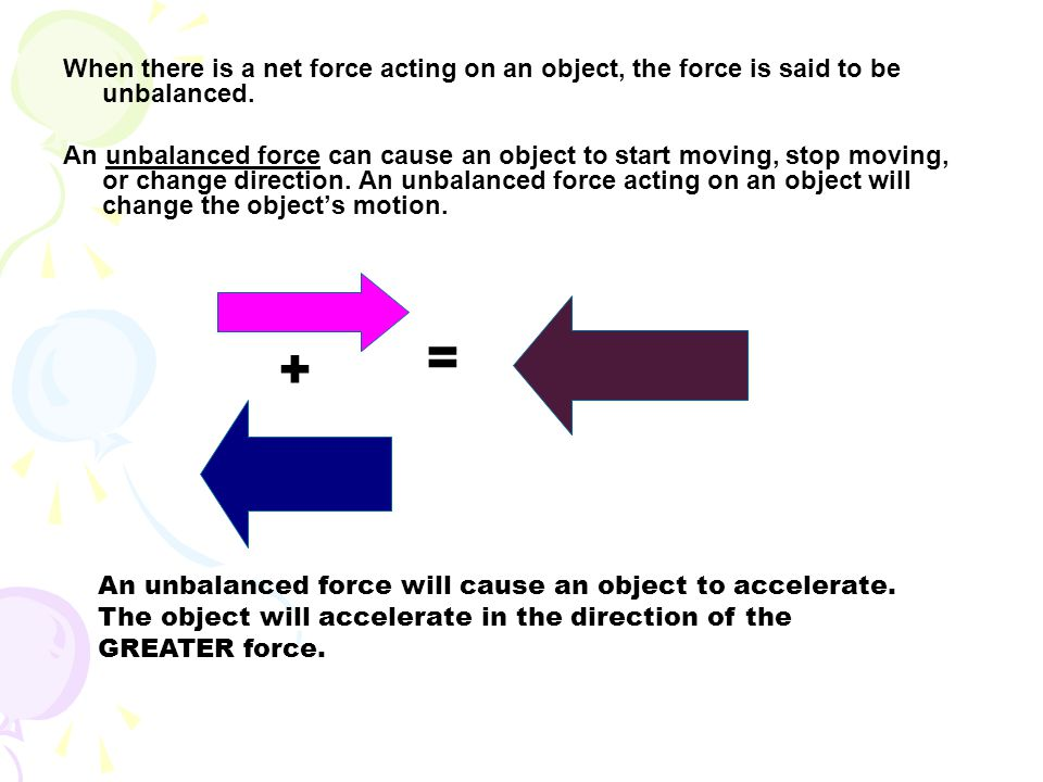 When there is a net force acting on an object, the force is said to be unbalanced.