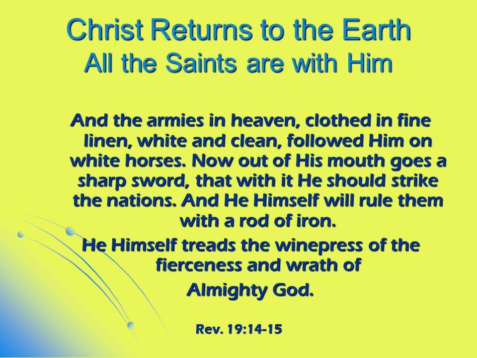 Christ Returns to the Earth All the Saints are with Him