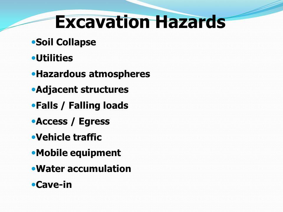 Excavation Hazards Soil Collapse Utilities Hazardous atmospheres