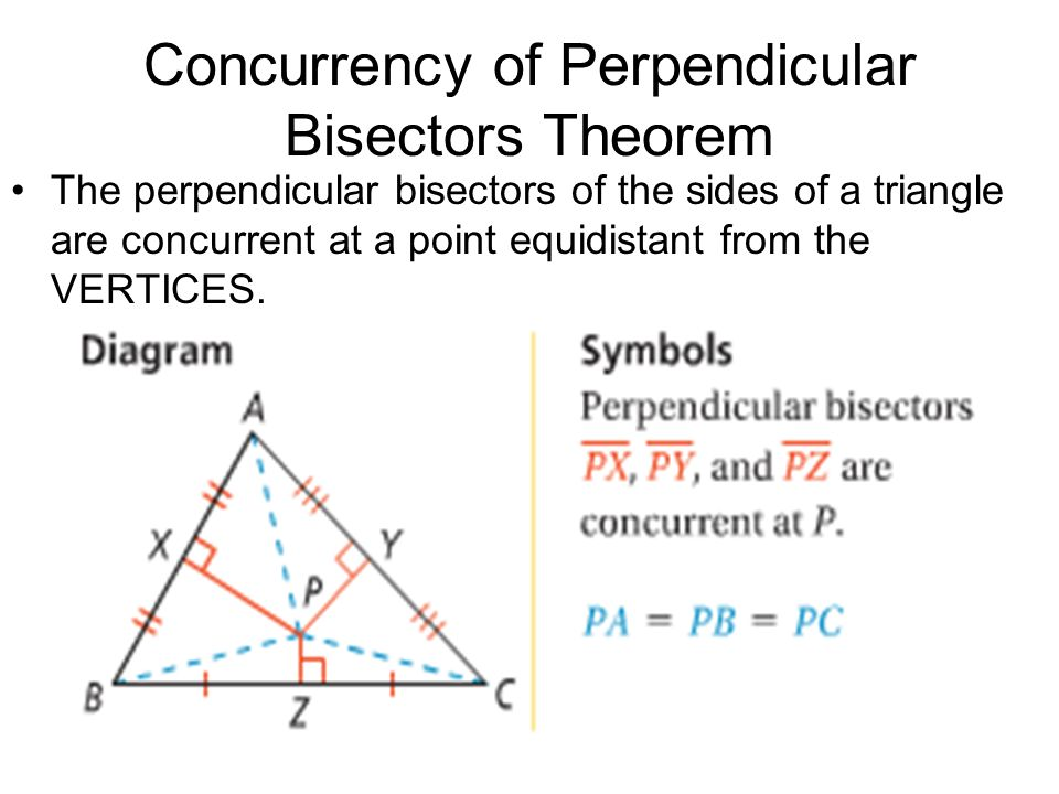 Concurrency of Perpendicular Bisectors Theorem