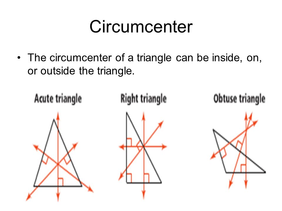 Circumcenter The circumcenter of a triangle can be inside, on, or outside the triangle.