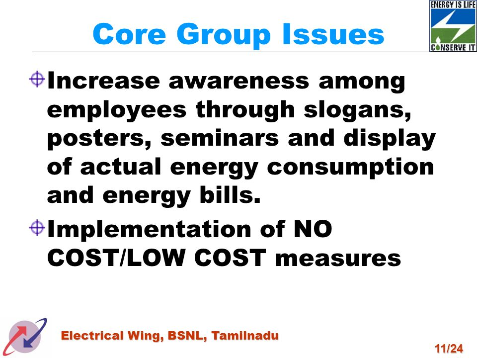 Core Group Issues Increase awareness among employees through slogans, posters, seminars and display of actual energy consumption and energy bills.