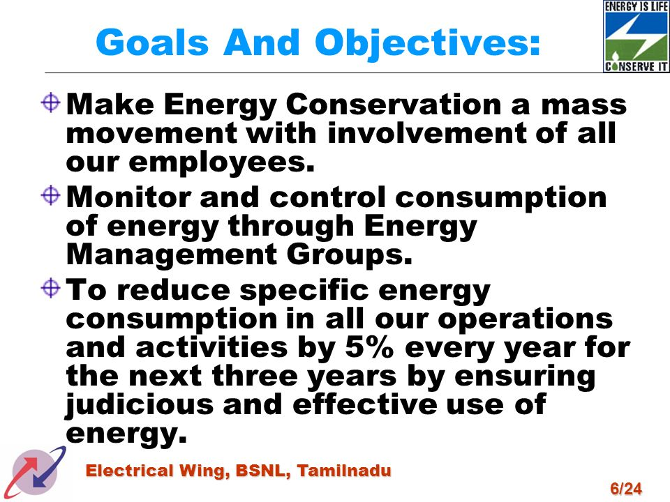 Goals And Objectives:Make Energy Conservation a mass movement with involvement of all our employees.