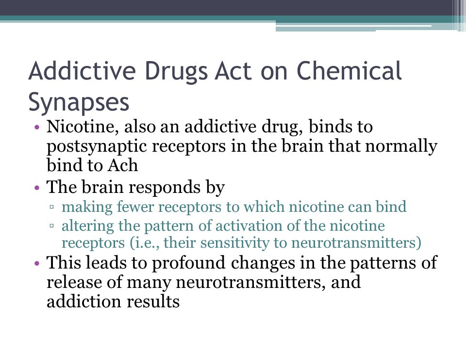Addictive Drugs Act on Chemical Synapses