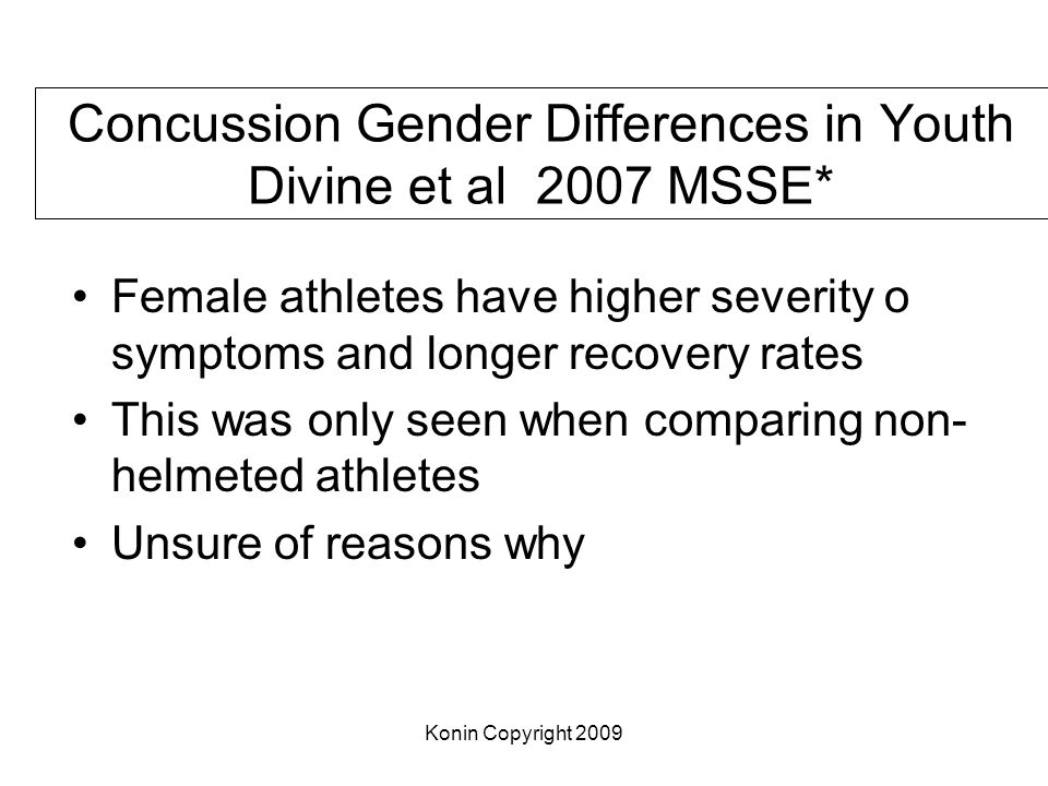 Concussion Gender Differences in Youth Divine et al 2007 MSSE*