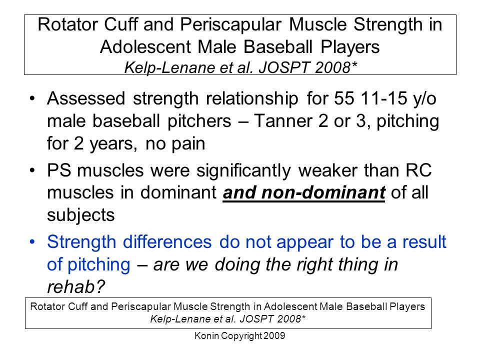 Rotator Cuff and Periscapular Muscle Strength in Adolescent Male Baseball Players Kelp-Lenane et al. JOSPT 2008*