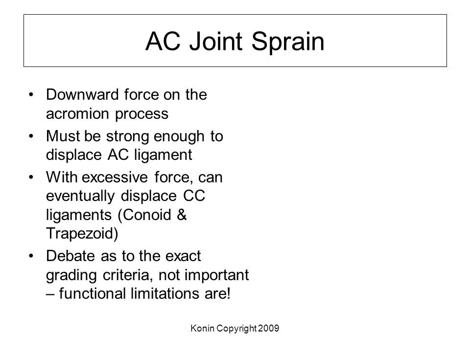 AC Joint Sprain Downward force on the acromion process