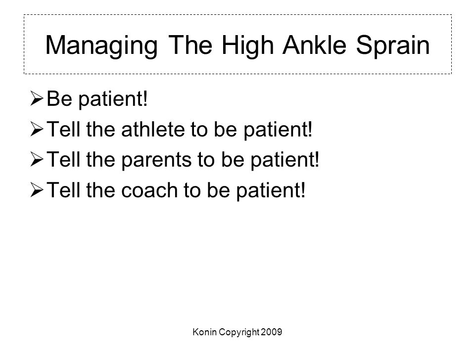 Managing The High Ankle Sprain