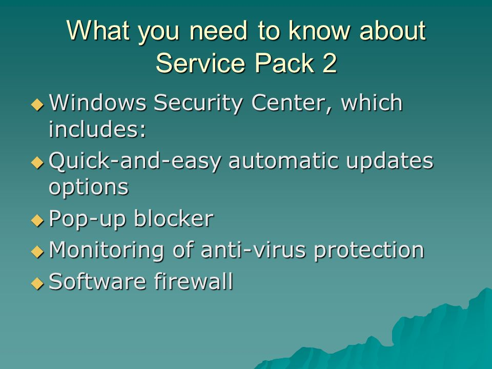 What you need to know about Service Pack 2