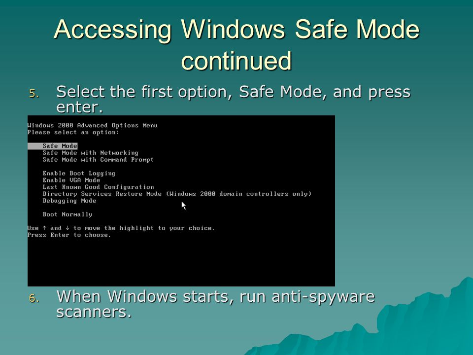 Accessing Windows Safe Mode continued