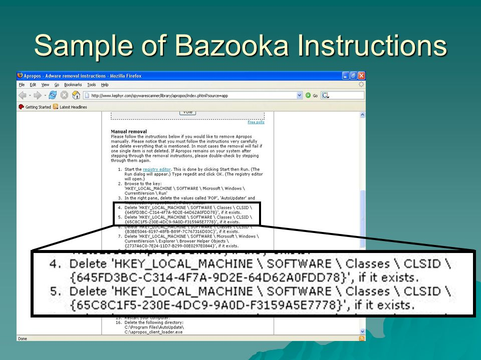 Sample of Bazooka Instructions
