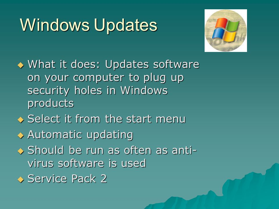 Windows Updates What it does: Updates software on your computer to plug up security holes in Windows products.