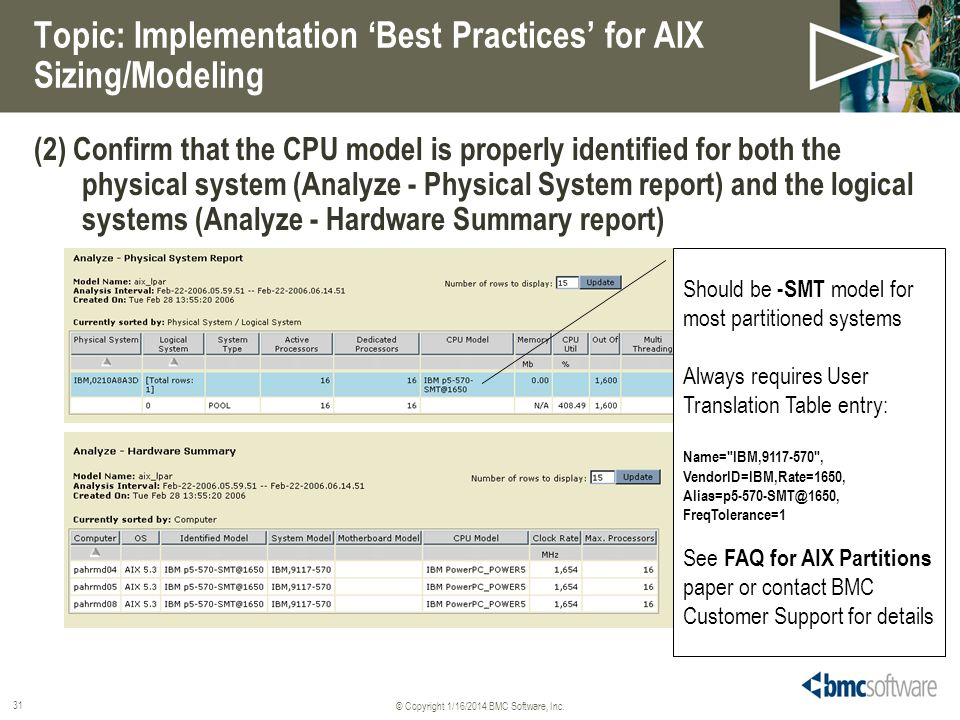 Topic: Implementation 'Best Practices' for AIX Sizing/Modeling