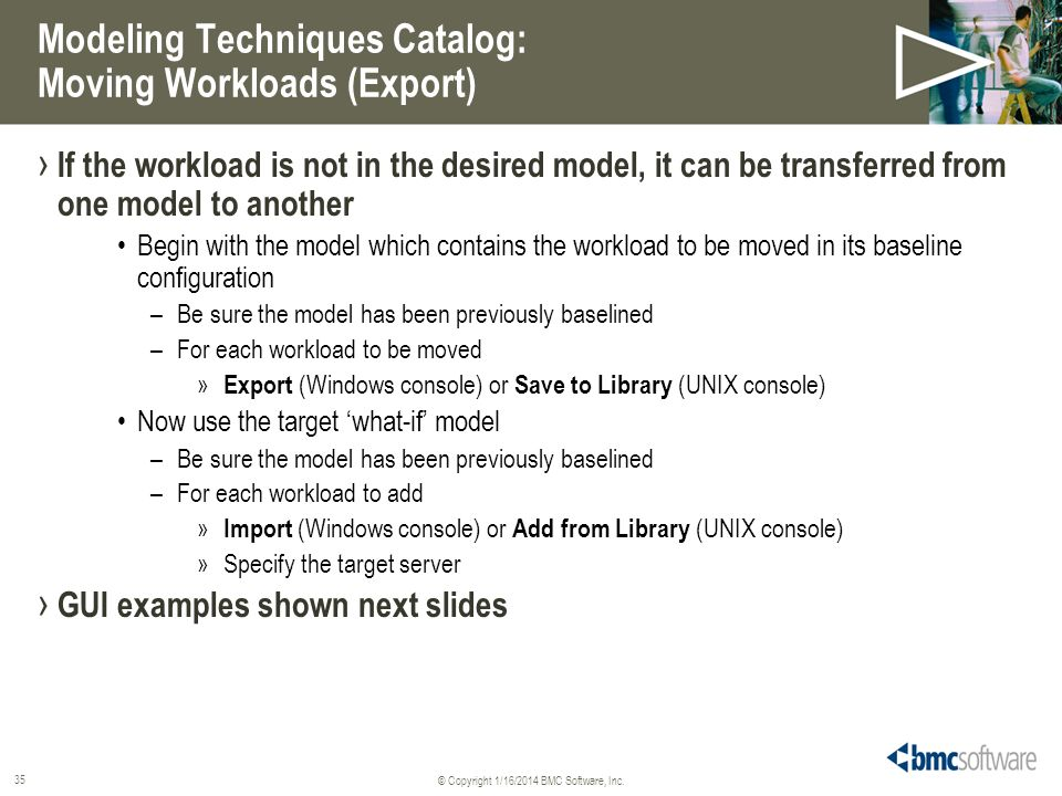 Modeling Techniques Catalog: Moving Workloads (Export)
