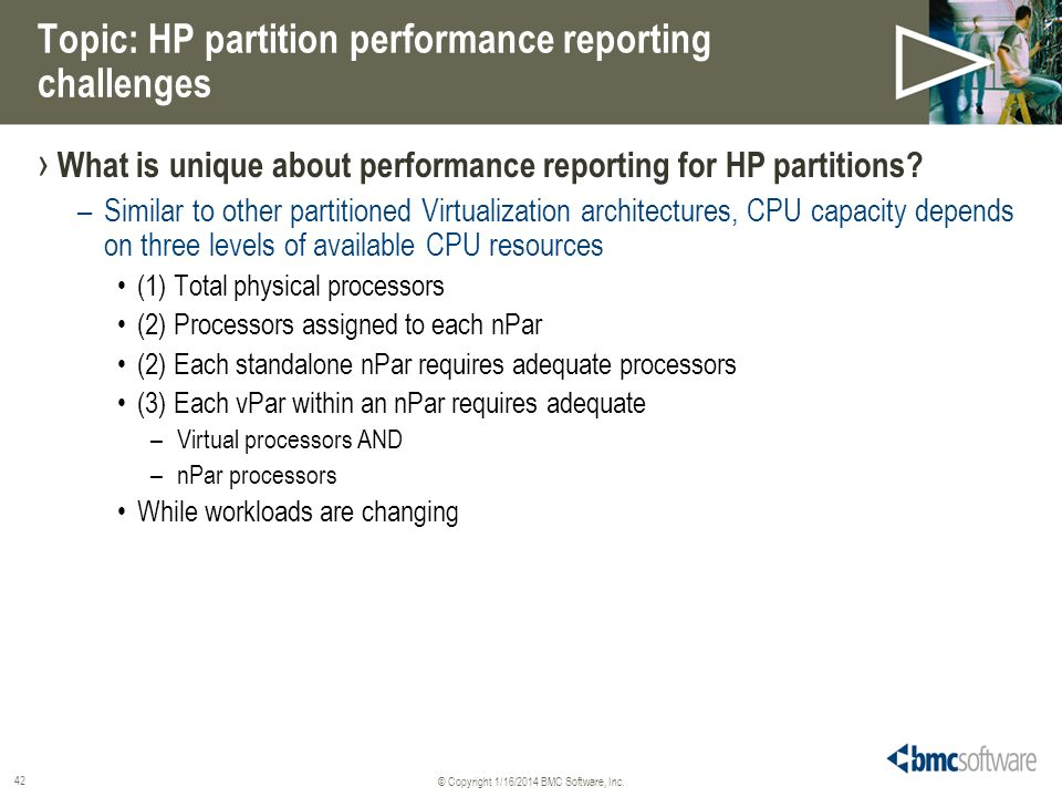 Topic: HP partition performance reporting challenges