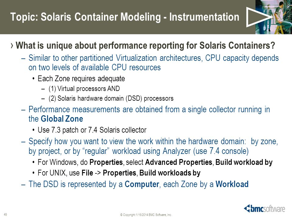 Topic: Solaris Container Modeling - Instrumentation