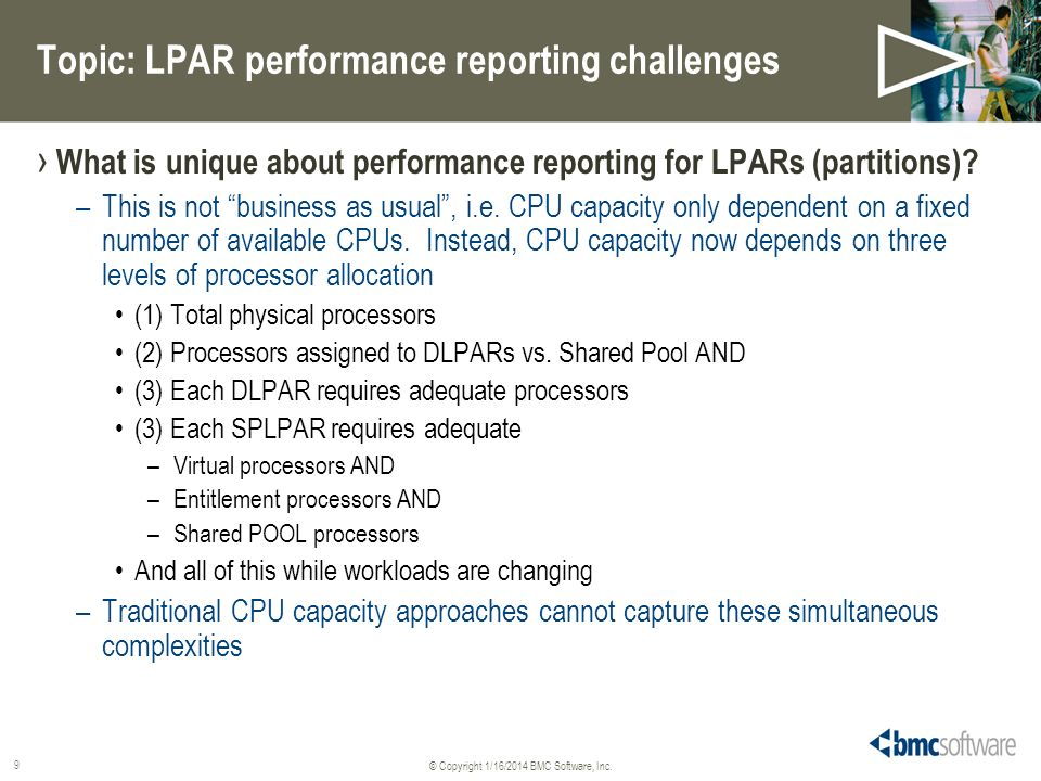 Topic: LPAR performance reporting challenges