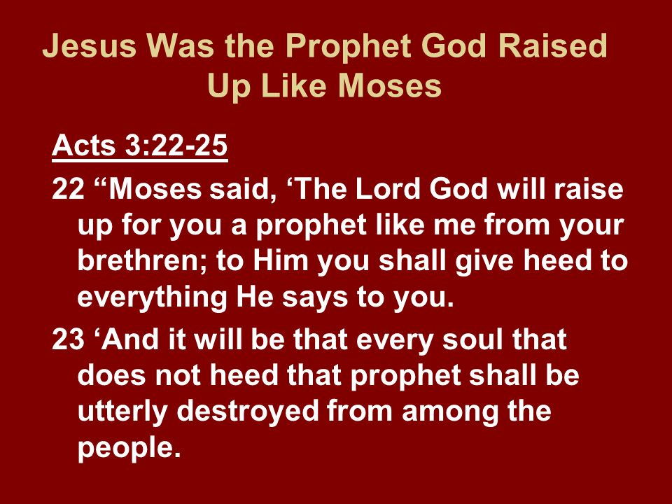 Jesus Was the Prophet God Raised Up Like Moses