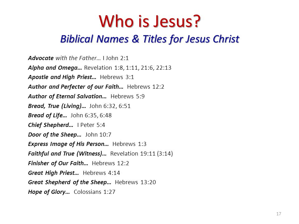 Who is Jesus Biblical Names & Titles for Jesus Christ