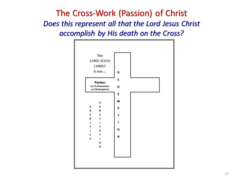 The Cross-Work (Passion) of Christ Does this represent all that the Lord Jesus Christ accomplish by His death on the Cross