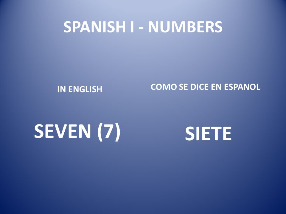 SEVEN (7) SIETE SPANISH I - NUMBERS COMO SE DICE EN ESPANOL IN ENGLISH