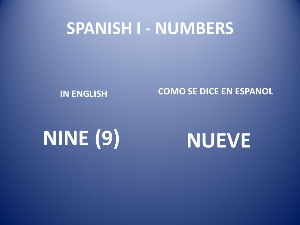 SPANISH I - NUMBERS COMO SE DICE EN ESPANOL IN ENGLISH NINE (9) NUEVE