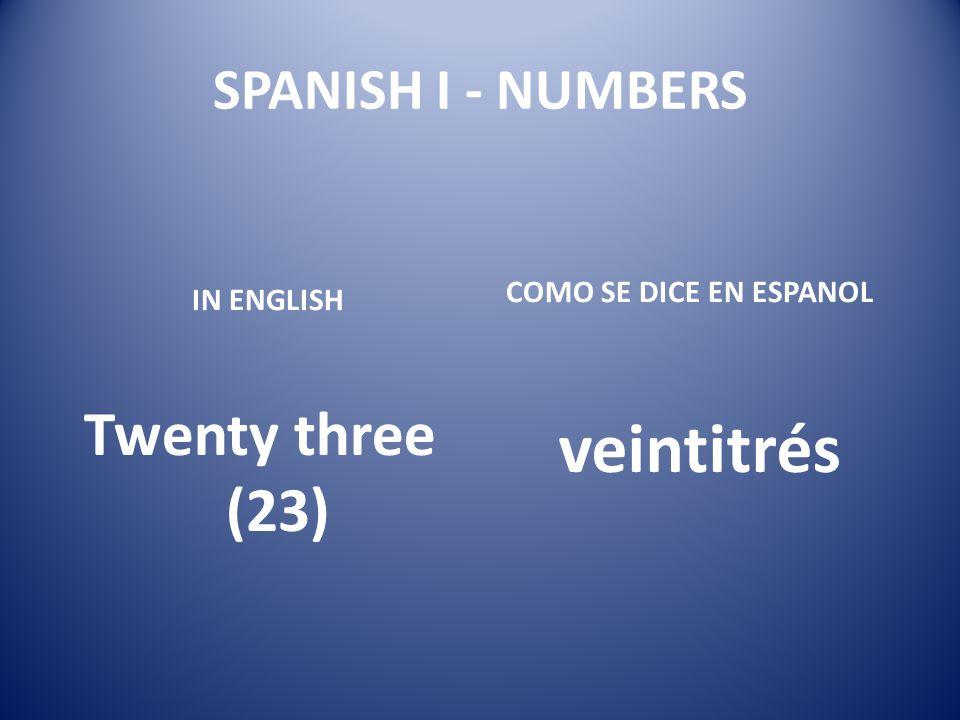 veintitrés Twenty three (23) SPANISH I - NUMBERS