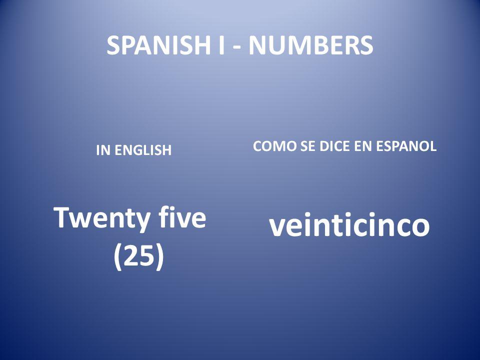 veinticinco Twenty five (25) SPANISH I - NUMBERS