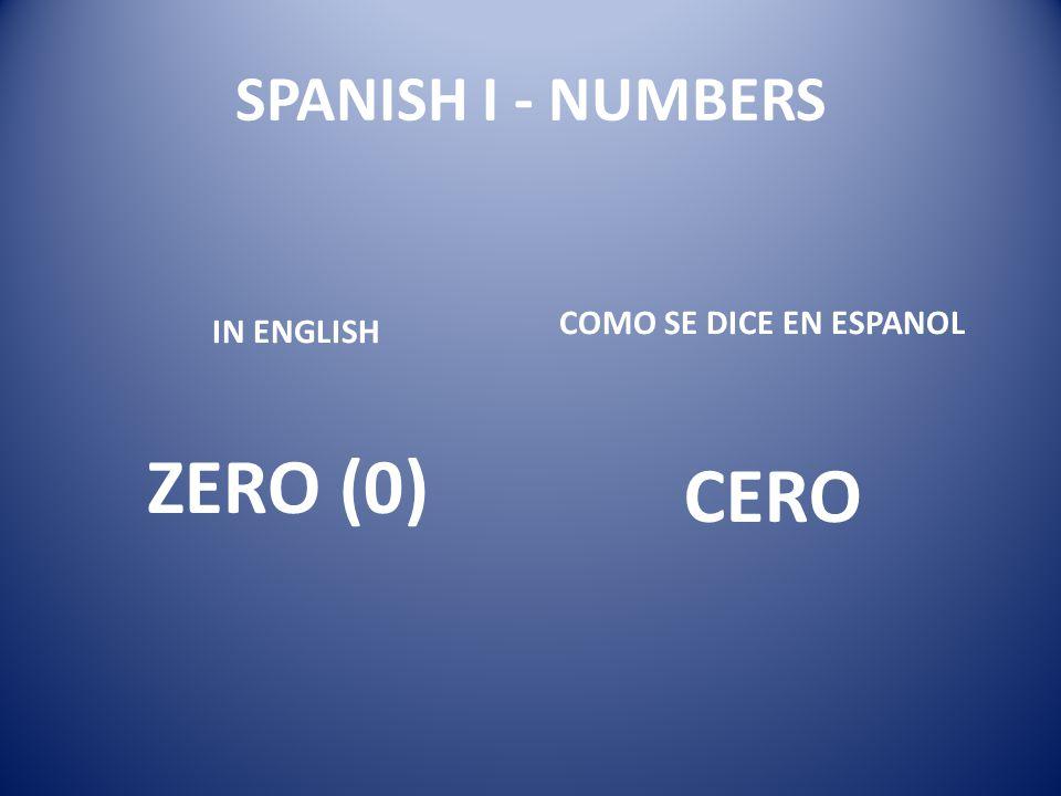 SPANISH I - NUMBERS COMO SE DICE EN ESPANOL IN ENGLISH ZERO (0) CERO